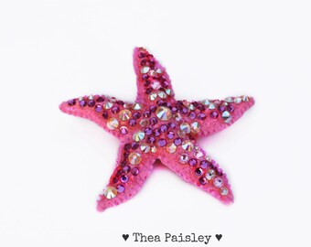 Pink Mermaid Swarovski crystal Starfish Clip