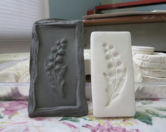 Clay Flower Stamp Lily of the Valley Blossom Pottery Press Mold Relief or Sprig Mold Bisque Clay Floral Stamp for Decoration and Texture