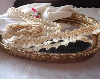 Hand Crocheted Lace, Ivory Lace Trim, 1 yd Antique French Lace
