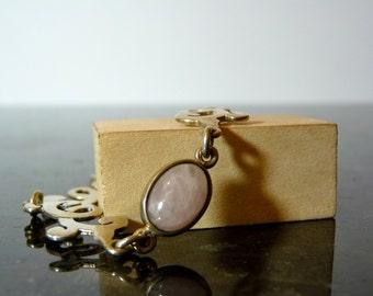 SALE Vintage Silver Unique Link Bracelet with Pink Gemstone