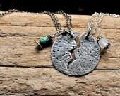 BFF Necklace Matching Best Friend Broken Jewelry Round Hammered Silver Pendant Birthstone Charms