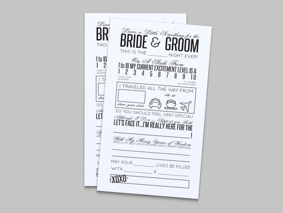 Wedding Reception Comment Card In Black Instant By LAShepherd