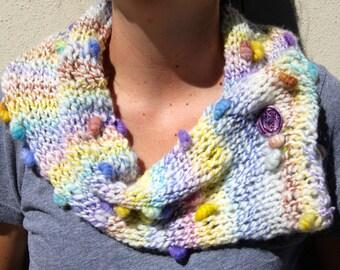 NEW Hand Knit Cowl Scarf, Multi colors, handmade clay button, Hand Spun  Yarn