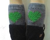 Green Gray Short Heart Knit Boot Cuffs. Love Heart Short Leg Warmers. Crochet heart Boot Cuffs. Legwear gray Green