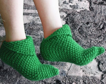 Handknitted Slippers, Wool Slippers, Women Slippers Green, house shoes, Slipper, Sock, Winter Fashion, Knit Slippers Booties, Socks Slippers
