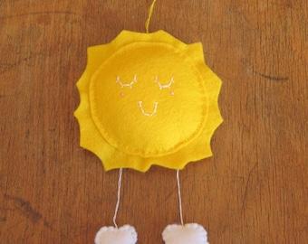 Mini Felt Sun and Cloud wall hanging nursery decor Made to Order