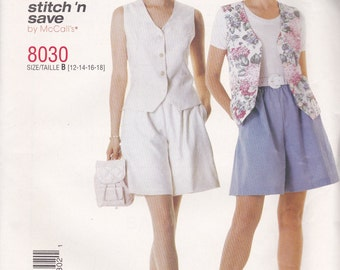 Vest & Shorts Pattern McCalls 8030 Sizes 12-18 Uncut