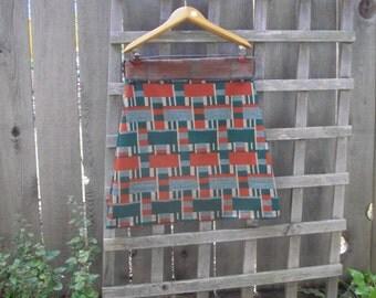 Funky Geometric Aline Mini Skirt/ Vintage Poly Stretch Knit Mini Skirt L