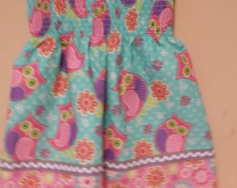 Owl Smocked Sundress,sundress,smocked dress,kids sundress,smocked sundress,pillowcase dress