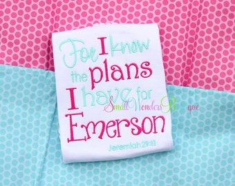 For I Know The Plans I Have For You Declares The Lord Embroidered Shirt -Jeremiah 29 :11 - For I Know - Bible Verse Shirt