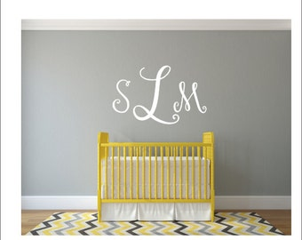 Monogram Wall Decal Wall Monogram Nursery Monogram Decal Bedroom Monogram Wall Decal Vinyl Wall Decal Curly Script Monogram Vinyl Decal