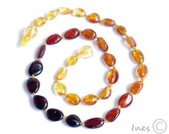 Baltic Amber Baby Teething Necklace Rainbow Colors