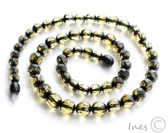 Baltic Amber Faceted Greenish Necklace. Faceted Round Amber Beads