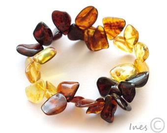 Baltic Amber Cognac Autumn Leaves Bracelet.