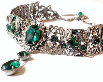 Emerald Swarovski Crystal Choker  - Victorian Gothic Bridal Silver Choker - Bridal Necklace -Victorian Gothic Jewelry - Wedding Jewelry