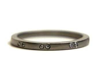 18k palladium white gold and eco friendly diamond ring. Engagement ring or wedding band
