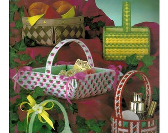 Needlepoint Baskets for  Plastic Canvas Pattern book Leisure Arts Leaflet 212