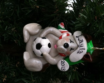 Handcrafted Polymer Clay Dog with Soccerball Ornament
