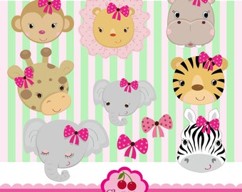 Girls Jungle Animals_ Animals faces Digital Clipart Set for -Personal and Commercial Use-paper crafts,card making,scrapbooking
