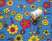 RESERVED -- red, yellow, blue and green floral print vintage cotton sailcloth fabric -- 45 wide by 1 1/4 yard