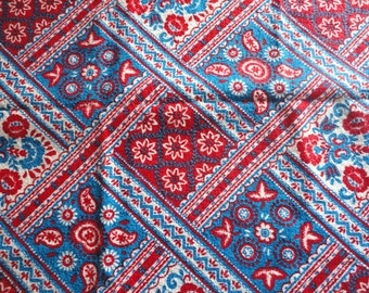 red, white and blue vintage cotton terry cloth -- 36 wide by 1 1/2 yards