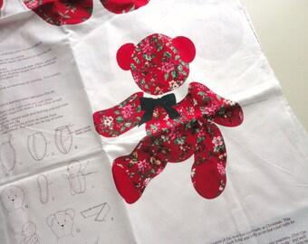 christmas bear fabric craft panel