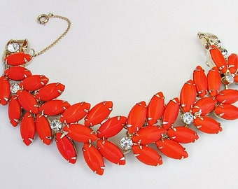 Wide Juliana Bracelet Orange Glass Stones Clear White Rhinestones 1960's 7 1/2 Inches Long Bright Cheerful Bracelet Excellent Condition