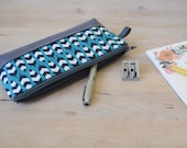 Pencil Case in Zig Zag Feathers