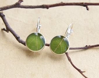 Real leaf earrings - green forest jewelry - woodland earrings with leaves