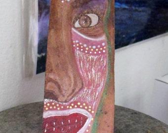 Wood Sculpture/Painting- Afro Caribbean Hand Painted Mask- Primitive Art