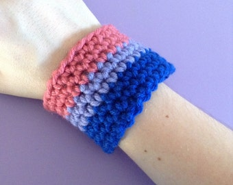 Crocheted Bisexual Pride Wristband