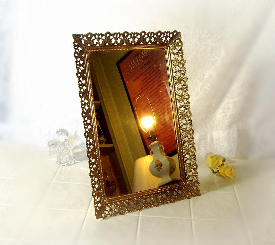 Vintage 1960s fancy filigree gold mirror vanity by for Fancy vanity mirror
