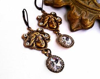 Swarovski Earrings Crystal Gothic Earrings Art Nouveau Earrings Vintage Earrings Antique Gold Gothic Jewelry
