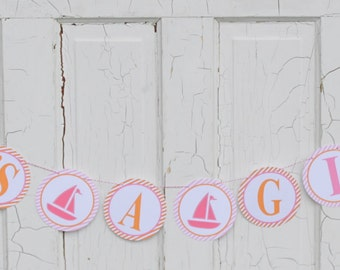 "PINK SAILBOAT Happy Birthday or Baby Shower ""It's a Girl"" Party Banner Pink Orange - Party Packs Available"