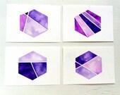 Custom Order for Ashley - Geometric Purple Hexagon Watercolors / Nate Berkus inspired #geometric #hexagon #purple #etsy #nateberkus