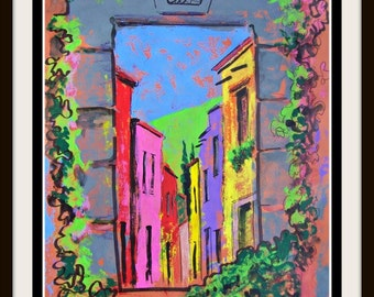 """Original painting of street window with flowers in San Miguel de Allende Mexican architecture small town home decor  19.5""""x 25.5"""""""