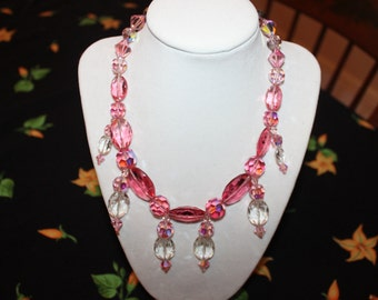 PINK Mid Century Swarovski Crystal Glamour Necklace