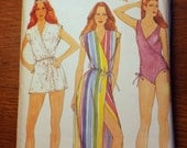Dive on in Misses coverup and swimsuit pattern Butterick 3902 size 10