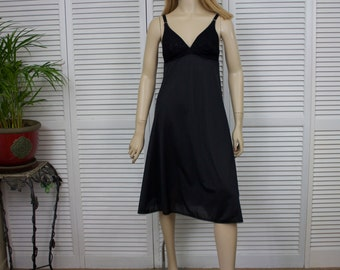 Vintage Black Full Slip St Michael Great Britain Size 36