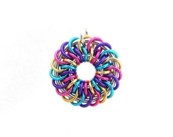 Aluminum Pendant, Chain Maille Pendant, Jump Ring Jewelry, Multicolor Jewelry, Chain Mail
