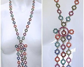 Vintage JEAN PAUL GAULTIER Princess Rhinestones Multi Coloured Necklace