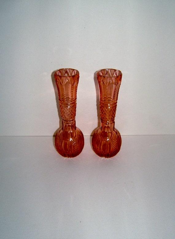 Pair of 1950s Vintage Pink Glass Vases Hobnail Pattern Pressed Glass Vases - Vintage Vase Vintage Home Decor Vintage Flower Vase