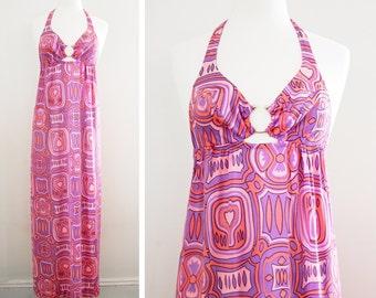 Vintage 1970's Psychedelic Print Halter Neck Cut Out Keyhole Maxi Dress - Long Fluid Nylon Summer Disco Dress -  Size S