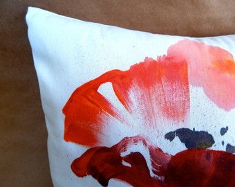 Poppy Painting Pillow by sooziedoozie