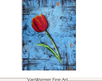 "Giclee ART PRINT of acrylic textured floral tulip painting- ""Flame"""