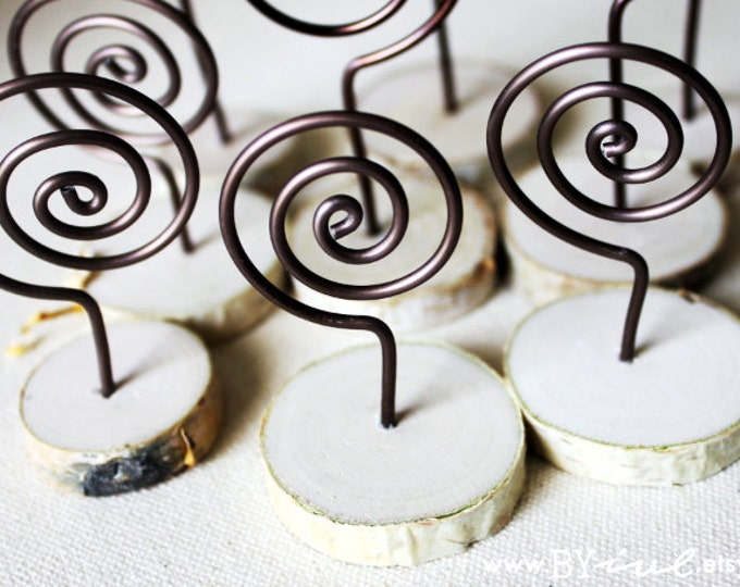 Wire Swirl Holder with Birch Wood Slices Bottom, Set of 10 holders, menu holder, place card holder, table number holder.