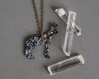 African Wild Dog Necklace / Painted Dog /  Metallic Collection / Minimal  / Gold / Africa / Canine / Animal of Africa