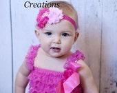 Double Pink Shabby Pearl Tiara Princess Headband - Little Girls Crown Hairbow - Newborn Baby Tiara Hair Bow - Hot Pink Shabby