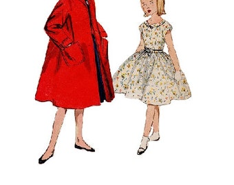 Girl's Swing Garden Tea Dress Duster Coat Simplicity 50s Sewing Pattern Full Circle Skirt Kimono Sleeve Jacket Size 10