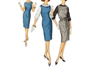 Simplicity 4605 Sewing Pattern Mad Men Style Retro Mod 60s Basic Sheath Wiggle Dress Ruffle Neck Blouse Secretary Style Bust 36 Uncut